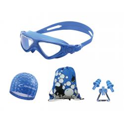Набор детский, для плавания, очки-полумаска, шапочка, беруши и сумка для вещей