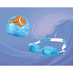 Детские очки и шапочка для плавания, универсальные, защита от–UV, Leacco